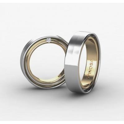 alianzas de boda combinadas en oro 18k y un brillante