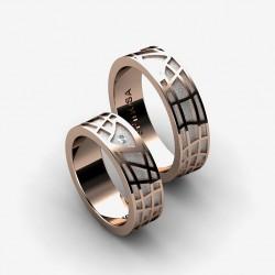 Обручальные кольца с геометрическим рисунком