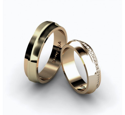 classy wedding rings with 11 brilliants for the bride