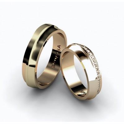 alianzas de boda en oro 18k y 11 brilliantes
