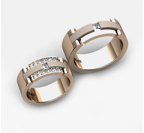 eye catching gold wedding ring with diamonds