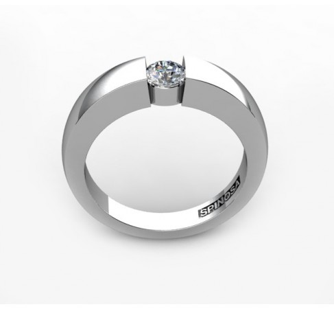 18 karat white gold engagement ring with diamond