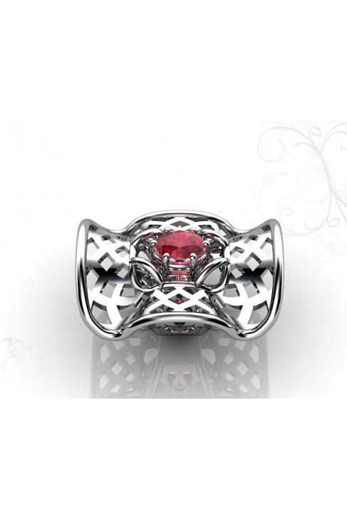 anillo de oro 18k con rubi en talla oval