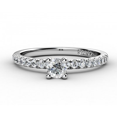 white gold engagement ring with brilliants