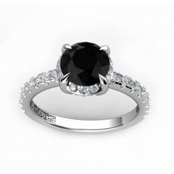 18k solitaire white gold engagement ring with a black central diamond