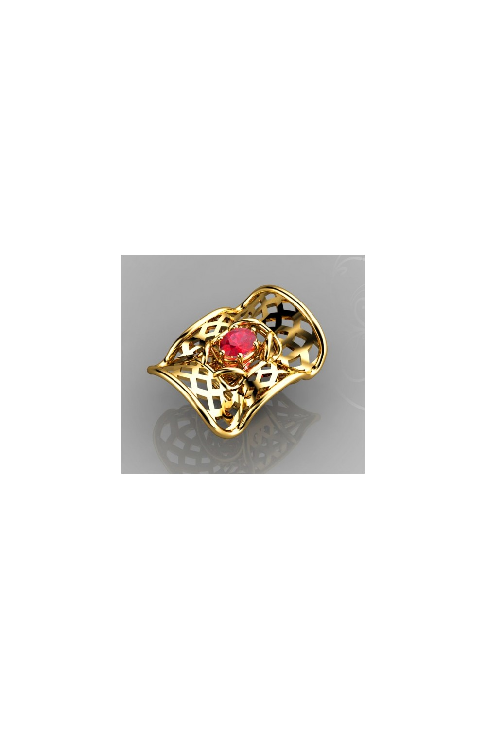 18k Gold Oval Shaped Ruby Gemstone Ring