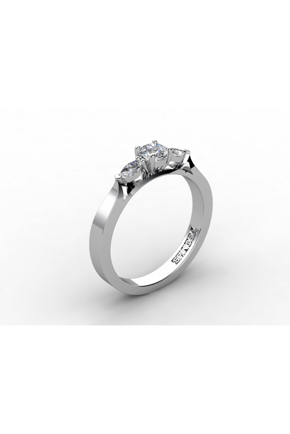 engagement ring trilogi with 3 diamonds
