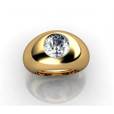 18K central diamond with yellow gold ring