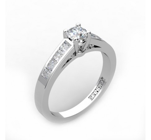 18k solitaire white gold engagement ring with a brilliant cut central diamond princess cut diamonds on the both sides