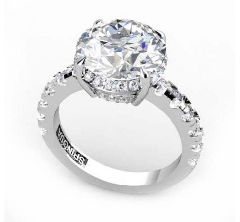 18k solitaire white gold engagement ring with diamonds
