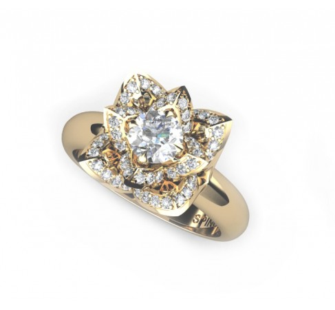 Flower shaped engagement ring with central diamond