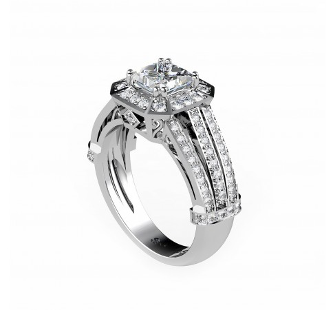 White gold 18K engagement ring with a princess cut central diamond
