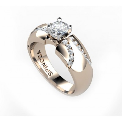 elegant engagement ring with central diamond and diamonds in channel