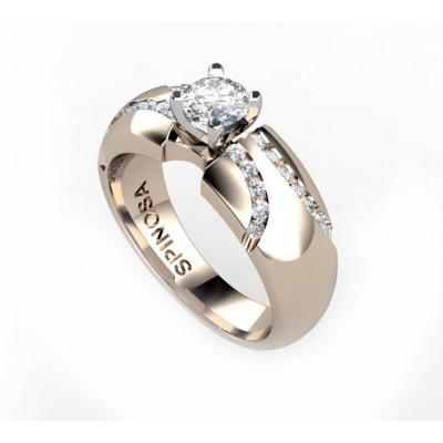 anillo de compromiso en oro 18k y brillantes en carril