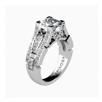 White gold engagement ring with a prinsess cut central diamond