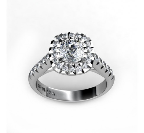 18k White Gold Cushion Cut Solitaire Diamond Engagement Ring