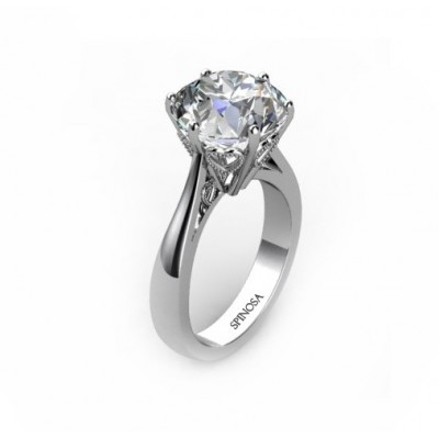 fretwork hearts design diamond solitaire ring 6 claws.