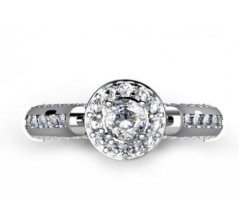 fashionable 18K white gold engagement ring with brilliants