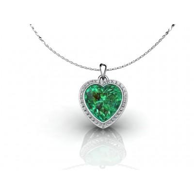 Золотая подвеска в форме сердца с зеленым кварцем