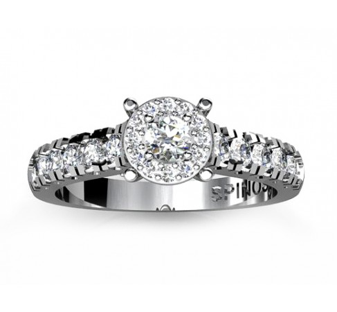 Simple Engagement Ring With Central Diamond Surrounded by 12 Brilliants