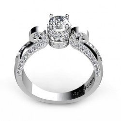 impressive engagement ring with a central diamond and brilliants