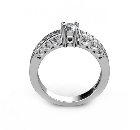 elegant engagement ring with central diamond and 22 Brilliants