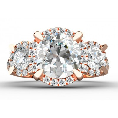18K Pink Gold Trilogy Diamond Ring.