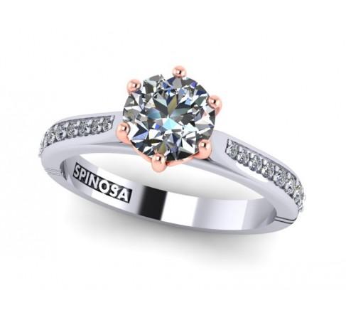кольцо для помолвки из белого и розового золота 18К с шестью лапками.