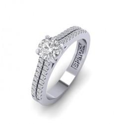 Кольцо для помолвки с двойным ободом с бриллиантами.