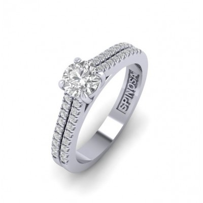 Double sank Solitaire Ring with Diamonds