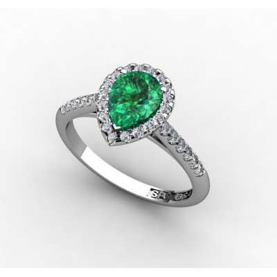 Pear cut Emerald ring