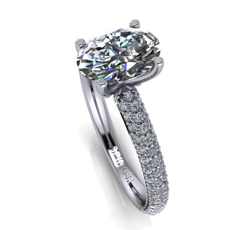 Oval Diamond Cut with pave setting