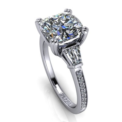 Diamond Cushion cut with Trilogy Baguettes style