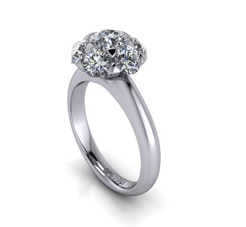 Solitario Roseta de Diamantes
