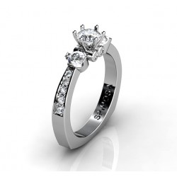 dazzling engagement ring with 3 diamonds and 14 brilliants