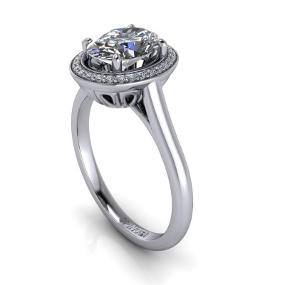 Diamond Oval cut Ring with brilliants Halo