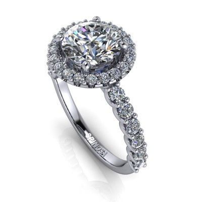 Brilliant Halo Ring with Diamond Band sank