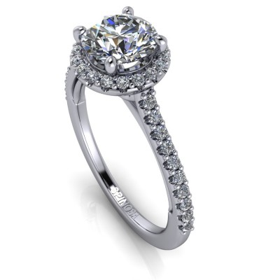Brilliants Engagement Ring with Heart Decoration