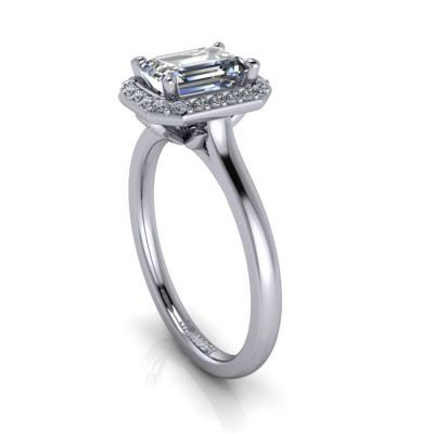 Emerald Cut Engagement Ring with Brilliants