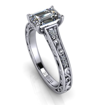Diamond Emerald cut Ring with Vintage Style