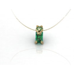 18k Lion-Inspired Emerald Marquise Gold Pendant