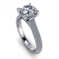 Modern Engagement Ring with pave Setting