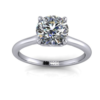 Brilliant cut Solitaire Ring with Heart decoratión