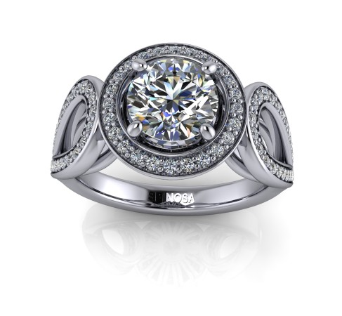 Solitaire brilliant cut with teardrop-shaped sides