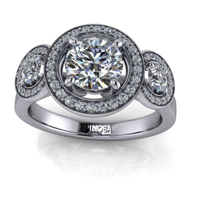 Ring with Triple Hallo of Diamonds
