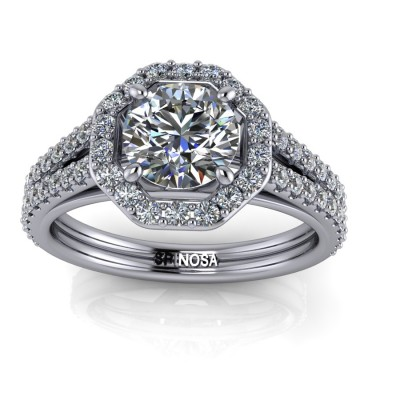 Brilliant Solitaire with Octagonal Halo and Double Arm