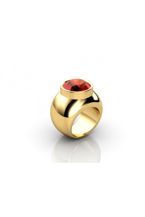 18k red quartz yellow gold ring