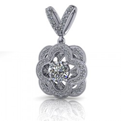 Vintage Style Diamond Pendant with doble Ring