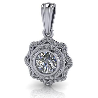 Vintage Style Diamond Pendant with Bezel