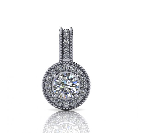 Halo Diamond Pendant with four claws
